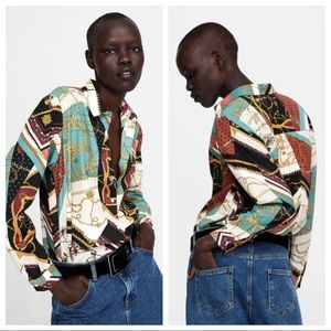 NWOT. Zara patchwork chain print blouse. Size S.